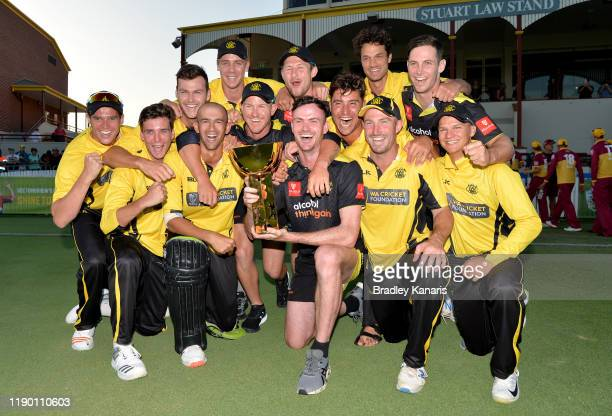 Western Australia celebrates victory after the Marsh One Day Cup Final between Queensland and Western Australia at the Allan Border Field on November...