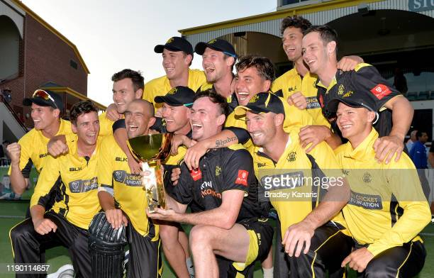 Western Australia celebrates victory after winning the Marsh One Day Cup Final between Queensland and Western Australia at the Allan Border Field on...