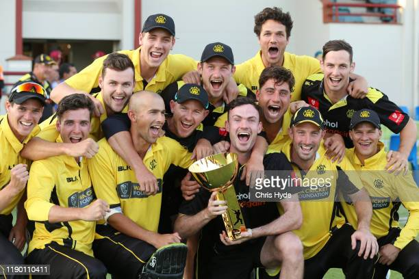 Western Australia hold the Marsh Cup after winning the Marsh One Day Cup Final between Queensland and Western Australia at the Allan Border Field on...