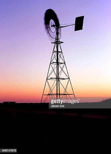Western Australia Murchinson water windmill at dusk near Carnavon