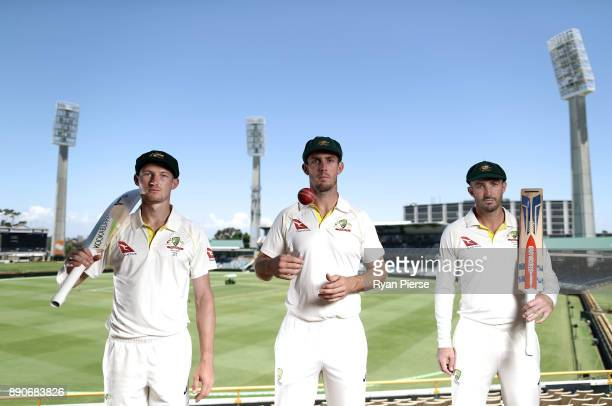 Western Australian Test Players Cameron Bancroft Mitch Marsh and Shaun Marsh of Australia pose during a portrait session ahead of the Third Test in...