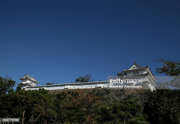 A western bailey of theHimeji Ccastle complex is seen from west view after five years fullscale restoration work on october 7 2014 in Himeji Japan...