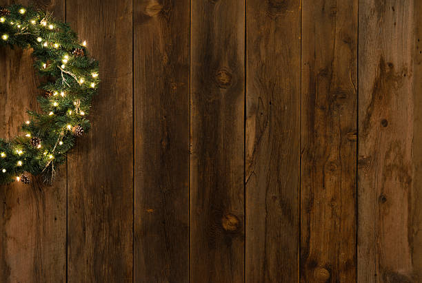 Western Barnwood Background W Lighted Christmas Wreath