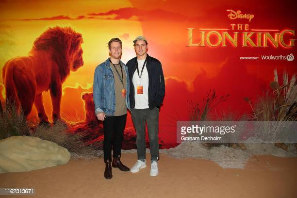 Western Bulldogs AFL players Lachie Hunter and Lukas Webb attend The Lion King Melbourne special event screening at Melbourne IMAX on July 16 2019 in...