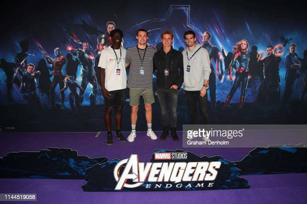 Western Bulldogs AFL players pose ahead of the special screening of Marvel Studios' Avengers Endgame at IMAX Melbourne Museum on April 23 2019 in...