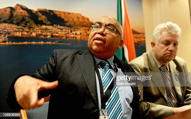 Western Cape Community Safety MEC Albert Fritz and tourism minister Alan Winde at a media briefing on 16 November 2010 in Cape Town South Africa The...