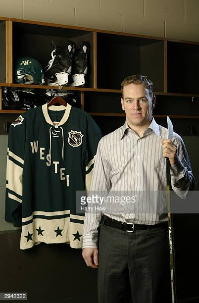 Western Conference All Star Alex Tanguay of the Colorado Avalanche poses during the NHL AllStar portrait session on February 7 2004 at the Xcel...