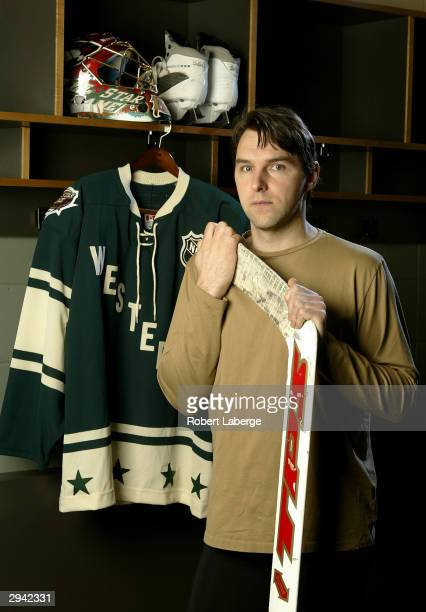 Western Conference All Star Dwayne Roloson of the Minnesota Wild poses during the NHL AllStar portrait session on February 7 2004 at the Xcel Energy...