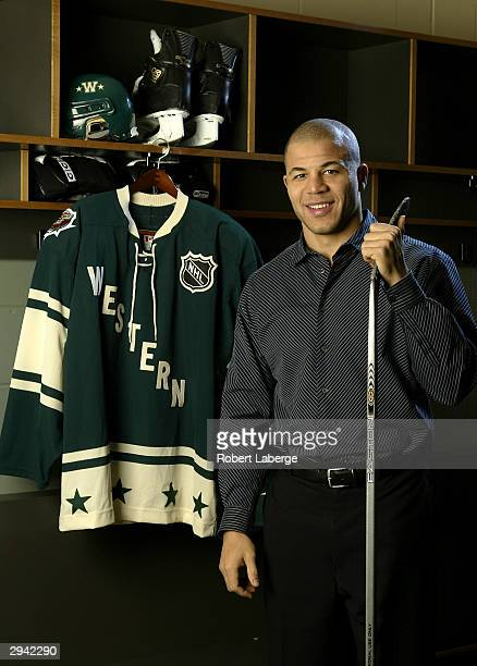 Western Conference All Star Jarome Iginla of the Calgary Flames poses during the NHL AllStar portrait session on February 7 2004 at the Xcel Energy...
