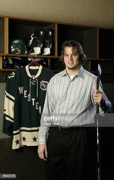 Western Conference All Star Rick Nash of the St Louis Blues poses during the NHL AllStar portrait session on February 7 2004 at the Xcel Energy...