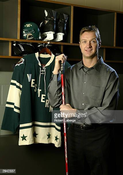 Western Conference All Star Rob Blake of the Colorado Avalanche poses during the NHL AllStar portrait session on February 7 2004 at the Xcel Energy...