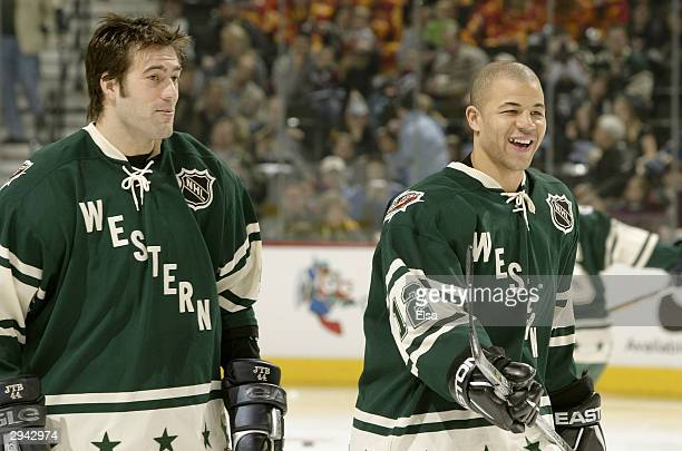 Western Conference All Star's Jarome Iginla of the Calgary Flames and Todd Bertuzzi of the Vancouver Canucks speak before practice for the 54th NHL...