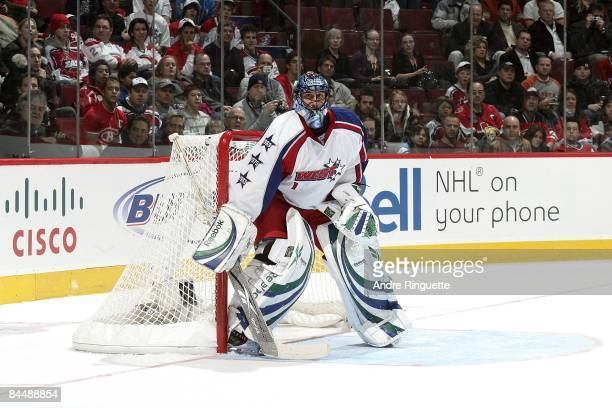 Western Conference AllStar goalie Roberto Luongo of the Vancouver Canucks looks on as he stands in the crease during the 2009 NHL AllStar game at the...