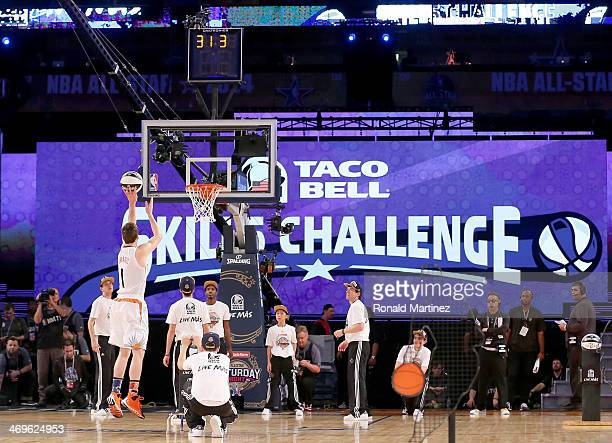 Western Conference AllStar Goran Dragic of the Phoenix Suns competes in the Taco Bell Skills Challenge 2014 as part of the 2014 NBA AllStar Weekend...