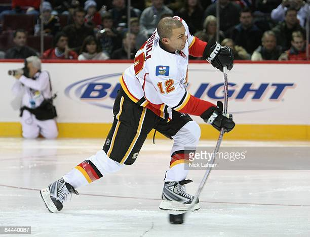 Western Conference AllStar Jarome Iginla of the Calgary Flames competes in the Cisco Hardest Shot during the Honda NHL Superskills competition as...