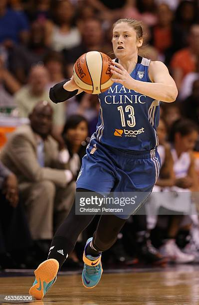Western Conference AllStar Lindsay Whalen of the Minnesota Lynx passes the ball during the WNBA AllStar Game at US Airways Center on July 19 2014 in...