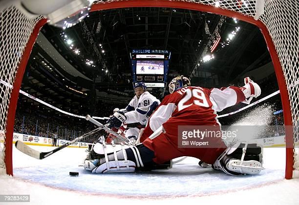 Western Conference AllStar Rick Nash of the Columbus Blue Jackets scores a goal on Tomas Vokoun of the Florida Panthers during the 56th NHL AllStar...