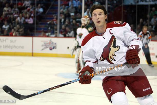 Western Conference AllStar Shane Doan of the Phoenix Coyotes reacts during the Gatorade NHL Elimination Shoot Out during the Honda NHL Superskills...