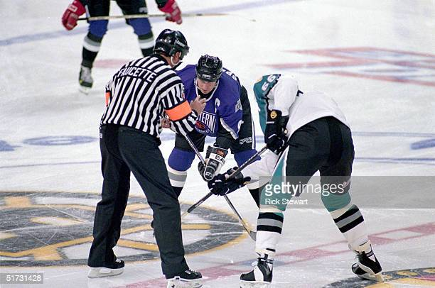 Western Conference All-Star Wayne Gretzky of the Los Angeles Kings prepares for the face off against Mario Lemieux of the Eastern Conference All-Star...