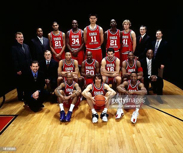 Western Conference All-Stars and coaches Jim Gillen, Elston Turner, Tim Duncan, Shaquille O'Neal#34, Yao Ming, Kevin Garnett, Dirk Nowitzki, John...