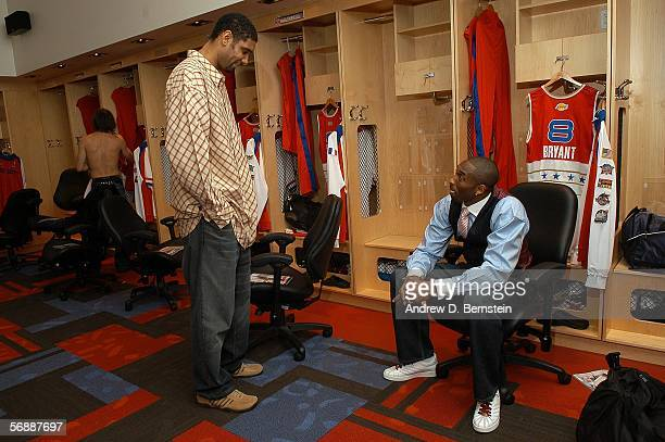 Western Conference AllStars Kobe Bryant of the Los Angeles Lakers and Tim Duncan of the San Antonio Spurs talk in the locker room prior to the 2006...