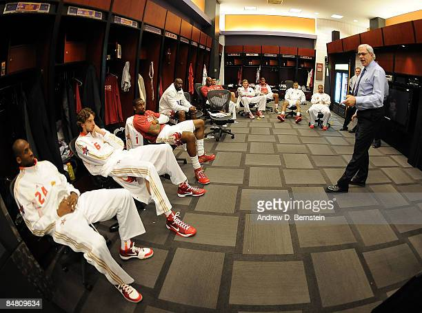 Western Conference head coach Phil Jackson of the Los Angeles Lakers addresses his team in the locker room during the 58th NBA AllStar Game part of...