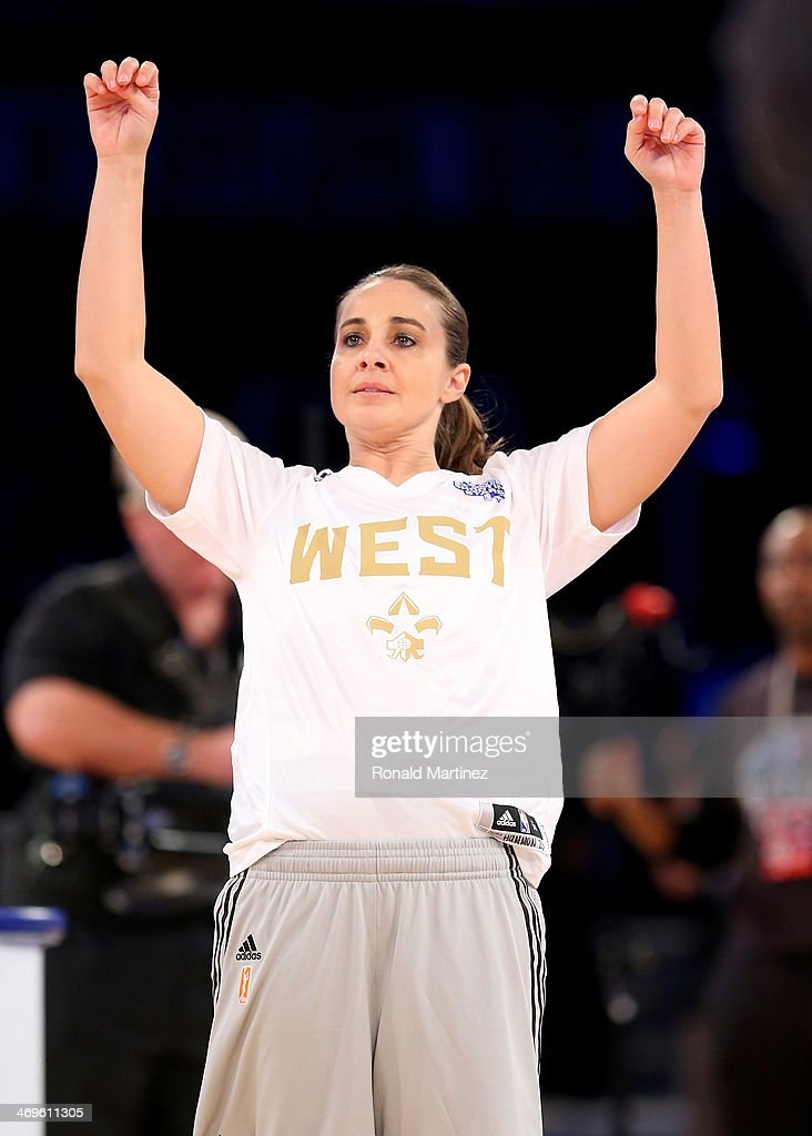 Western Conference WNBA All-Star Becky Hammon #25 of the San Antonio Stars follows through on her shot during the Sears Shooting Stars Competition 2014 as part of the 2014 NBA All-Star Weekend at the Smoothie King Center on February 15, 2014 in New Orleans, Louisiana.