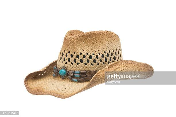 western cowgirl straw hat-isolated on white - cowboy hat stock pictures, royalty-free photos & images
