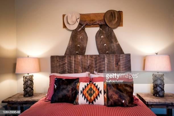 western decor bedroom iin montana - montana western usa stock pictures, royalty-free photos & images