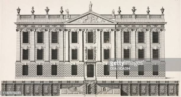 Western facade of Chatsworth House Derbyshire United Kingdom engraving from a drawing by DI Thornell from Vitruvius Britannicus or The British...