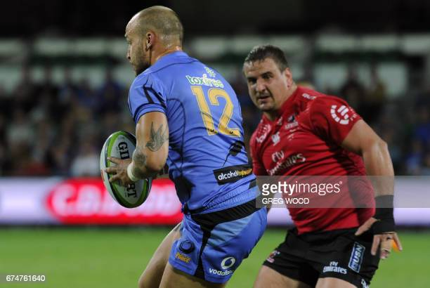 Western Force's Billy Meakes runs the ball during the Super Rugby match between Australia's Western Force and South Africa's Lions in Perth on April...