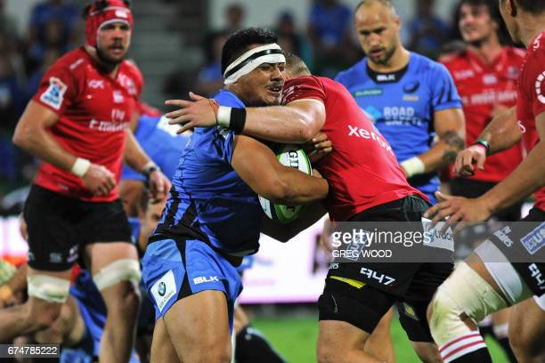 Western Force's Vui Shambeckler is tackled during the Super Rugby match between Australia's Western Force and South Africa's Lions in Perth on April...