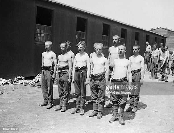 Western Front Young British recruits parade bare chested at camp Etaples France Photograph taken for the Adjutant Generals Office 16 July 1918