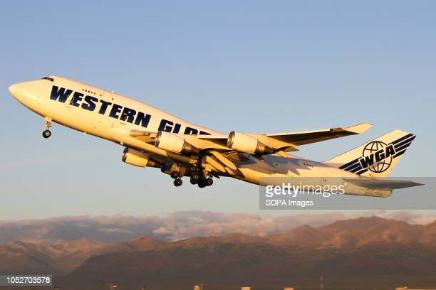 L AIRPORT ANCHORAGE ALASKA UNITED STATES Western Global seen departing beautiful Anchorage