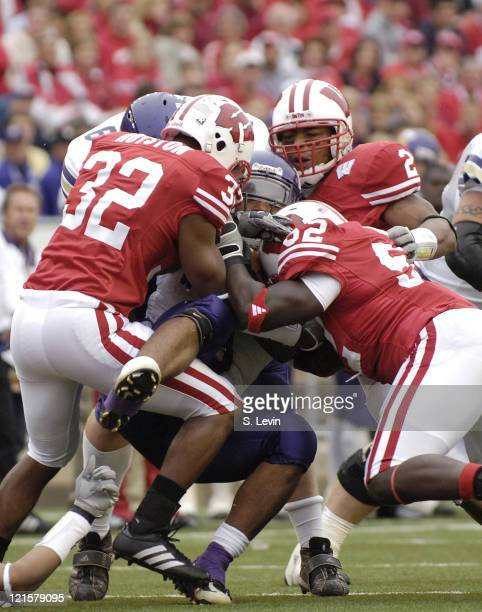 Western Illinois running back Herb Donaldson is surrounded by Badger players during the game between the Wisconsin Badgers and the Western Illinois...