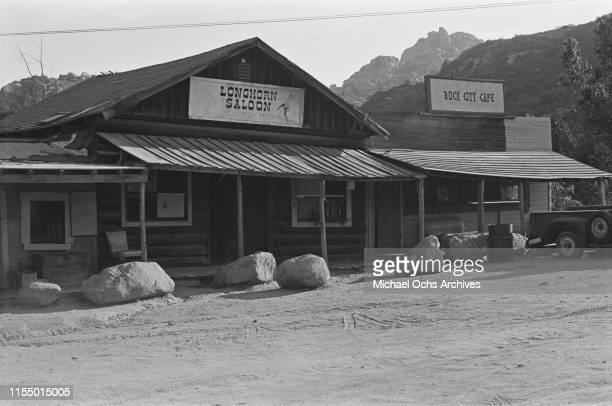 Western inspired buildings on the Spahn Movie Ranch owned by American rancher George Spahn and residence of the Manson Family Los Angeles County...