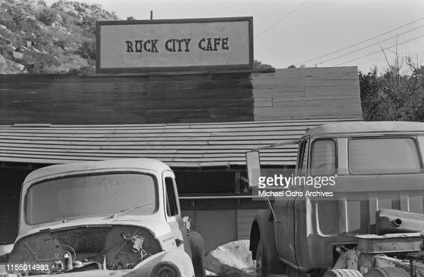 Western inspired set building 'Rock City Cafe' at the Spahn Movie Ranch owned by American rancher George Spahn and residence of the Manson Family Los...