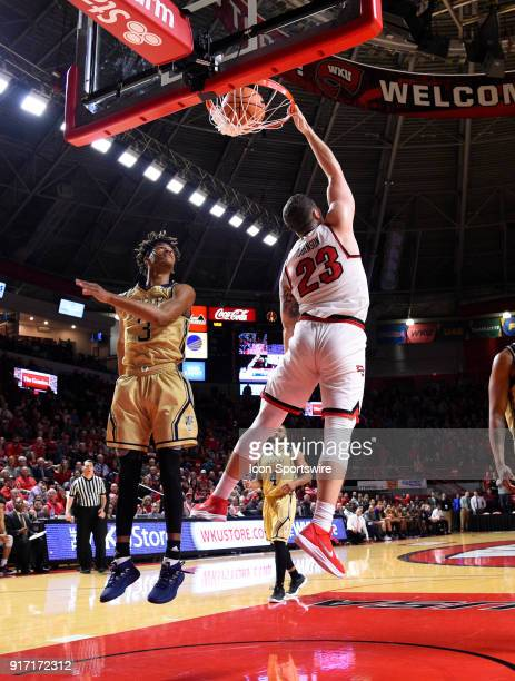 Western Kentucky Hilltoppers forward Justin Johnson finishes the game off with a big slam during the second half between the Florida International...
