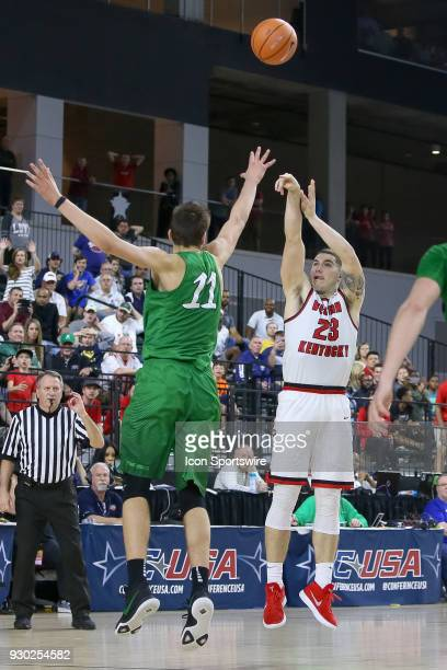 Western Kentucky Hilltoppers forward Justin Johnson hits a three point shot late in the second half of the Conference USA Basketball Championship...