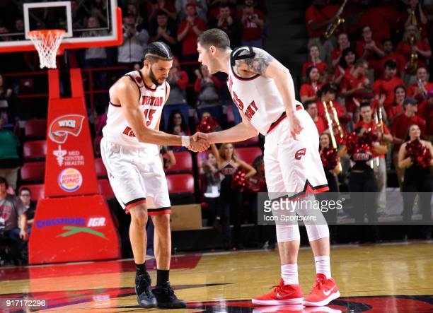 Western Kentucky Hilltoppers guard Darius Thompson and Western Kentucky Hilltoppers forward Justin Johnson shake hands after building a 10 point lead...