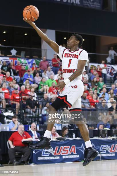 Western Kentucky Hilltoppers guard Lamonte Bearden lays in a floater during the Conference USA Basketball Championship game between the Western...