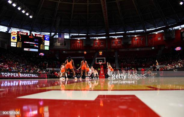 Western Kentucky Lady Toppers and UTSA Roadrunners tips the ball during the first period during the women's college basketball game between the UTSA...