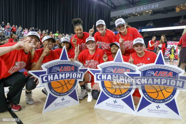 Western Kentucky Lady Toppers celebrate after winning the Conference USA Women's Basketball Championship game between the Western Kentucky Lady...