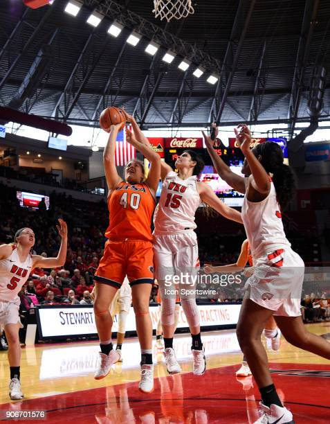 Western Kentucky Lady Toppers center Raneem Elgedawy blocks the shot of UTSA Roadrunners center Billie Marlow during the second period during the...