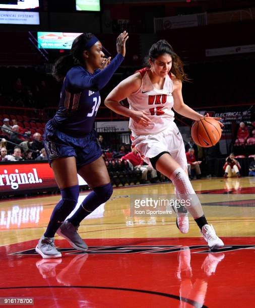 Western Kentucky Lady Toppers center Raneem Elgedawy dribbles past Old Dominion Lady Monarchs forward Odegua Oigbokie during the first period of the...