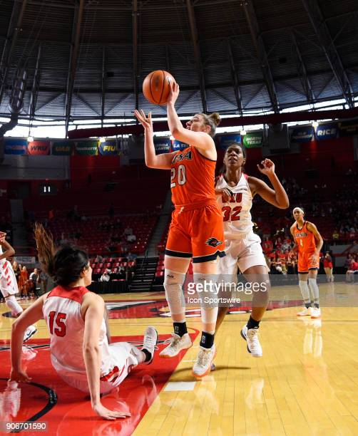 Western Kentucky Lady Toppers center Raneem Elgedawy is called for a block as UTSA Roadrunners forward Kourtney Kekec shoots during the second period...