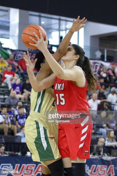 Western Kentucky Lady Toppers center Raneem Elgedawy is fouled during the Conference USA Women's Basketball Championship game between the Western...