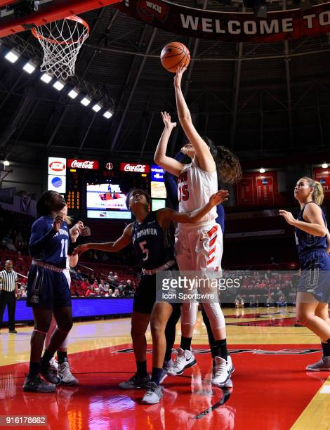 Western Kentucky Lady Toppers center Raneem Elgedawy shoots over Old Dominion Lady Monarchs guard Victoria Morris during the first period of the Old...