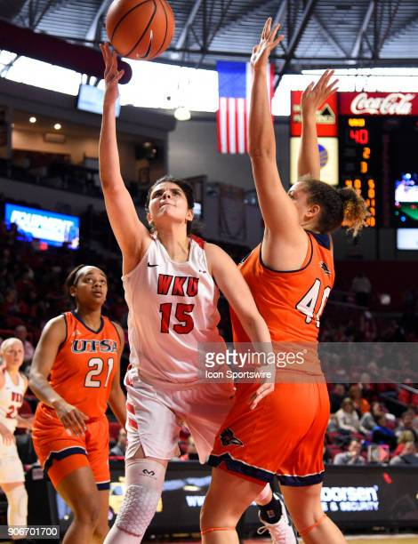 Western Kentucky Lady Toppers center Raneem Elgedawy shoots under UTSA Roadrunners center Billie Marlow during the third period during the women's...