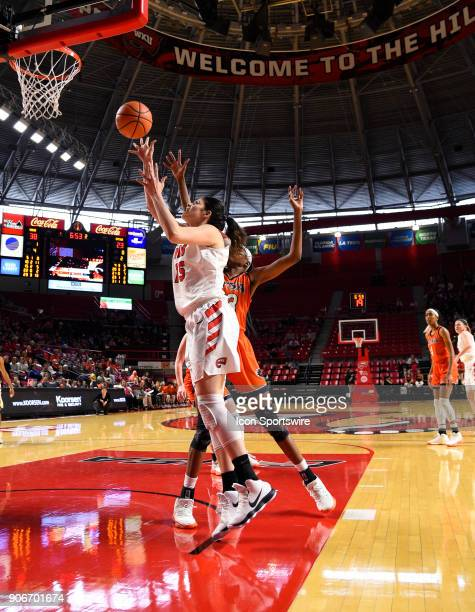 Western Kentucky Lady Toppers center Raneem Elgedawy shots over UTSA Roadrunners forward Tija Hawkins during the third period during the women's...